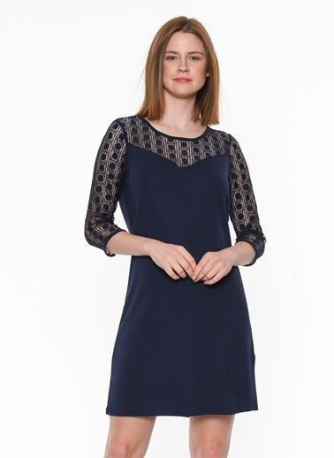 Vero Moda Vero Moda Kare Desenli Yaka Koyu Kadın Elbise Lacivert